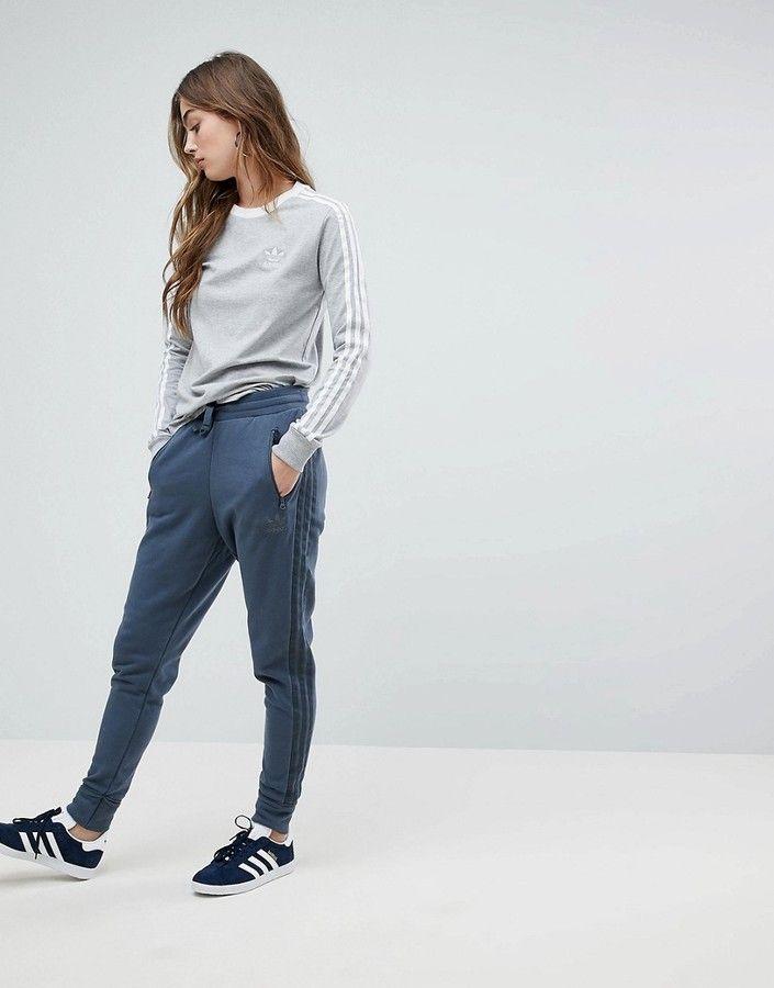 buy online 986ee ed218 adidas Low Crotch Harem Sweat Pants In Dark Gray