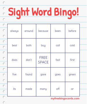 sight word bingo! - custom bingo card generator