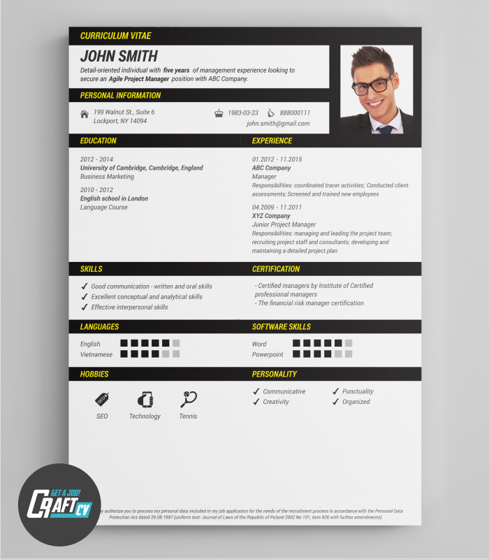 Original Cv Sample  Creative Cv  Professional Cv Template  Cv