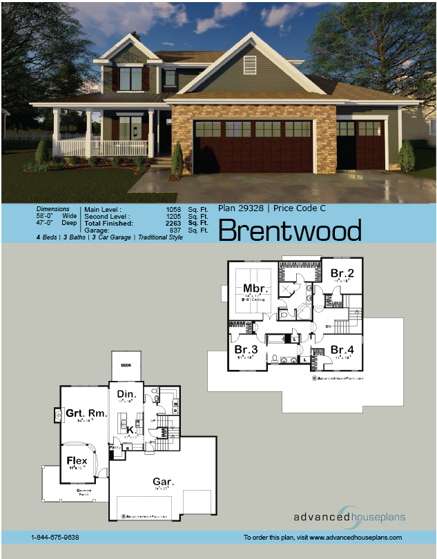 2 Story Modern Farmhouse House Plan Brentwood House Plans Farmhouse Beautiful House Plans House Plans