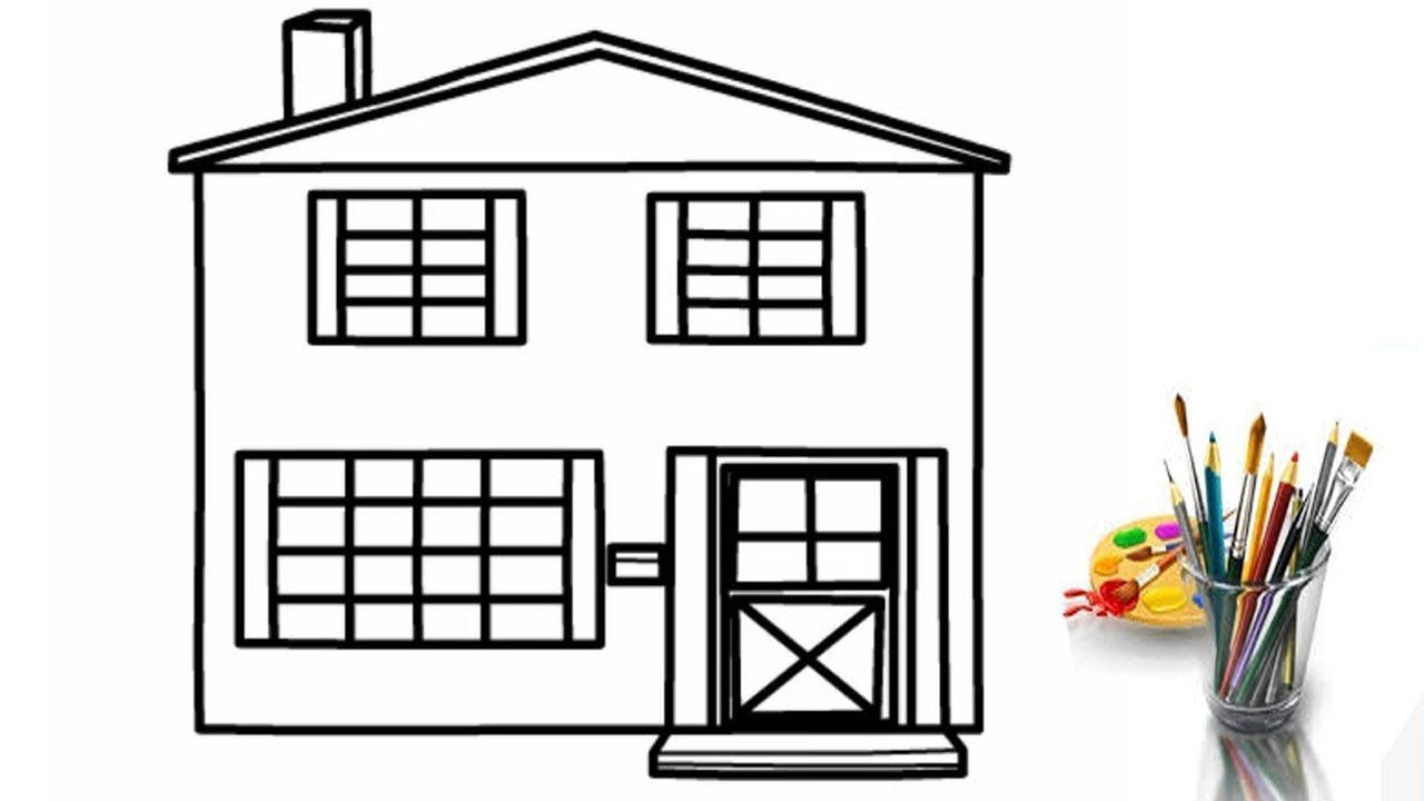How to draw big house coloring page for kids i learn coloring book with