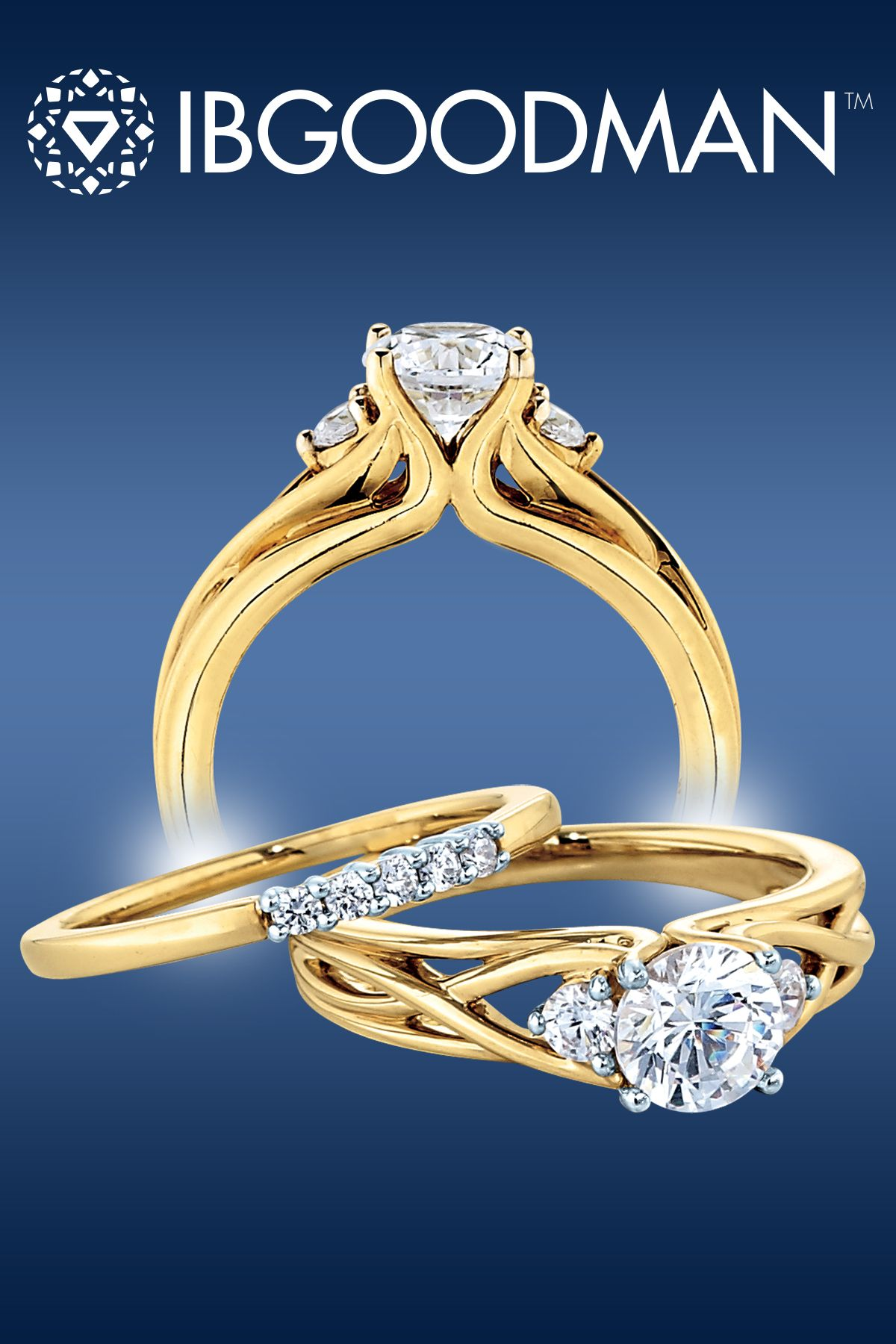 Yellow gold engagement ring and matching wedding band from