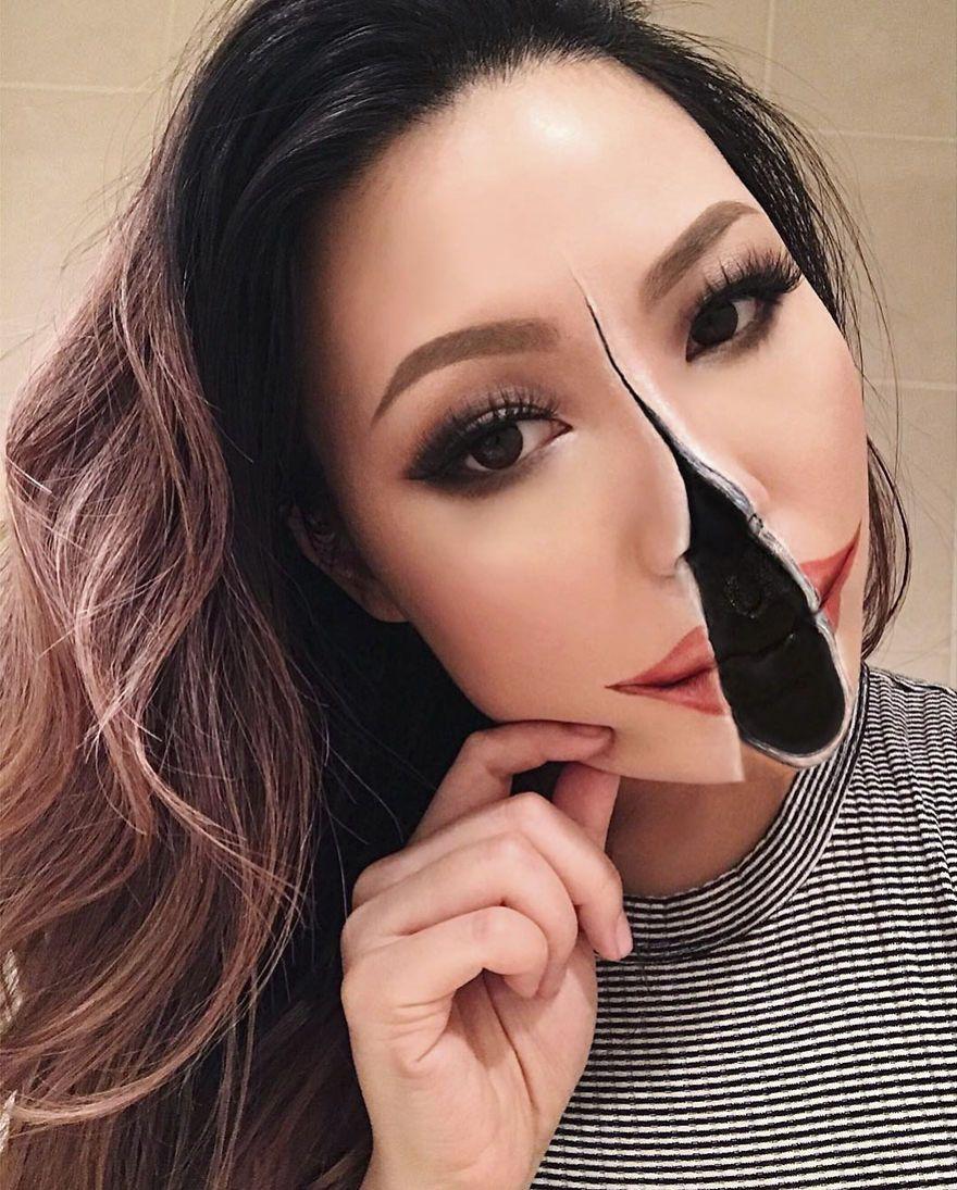 Optical Illusion Make Up Mimi Choi Cool Halloween Makeup Halloween Makeup Looks Scary Makeup