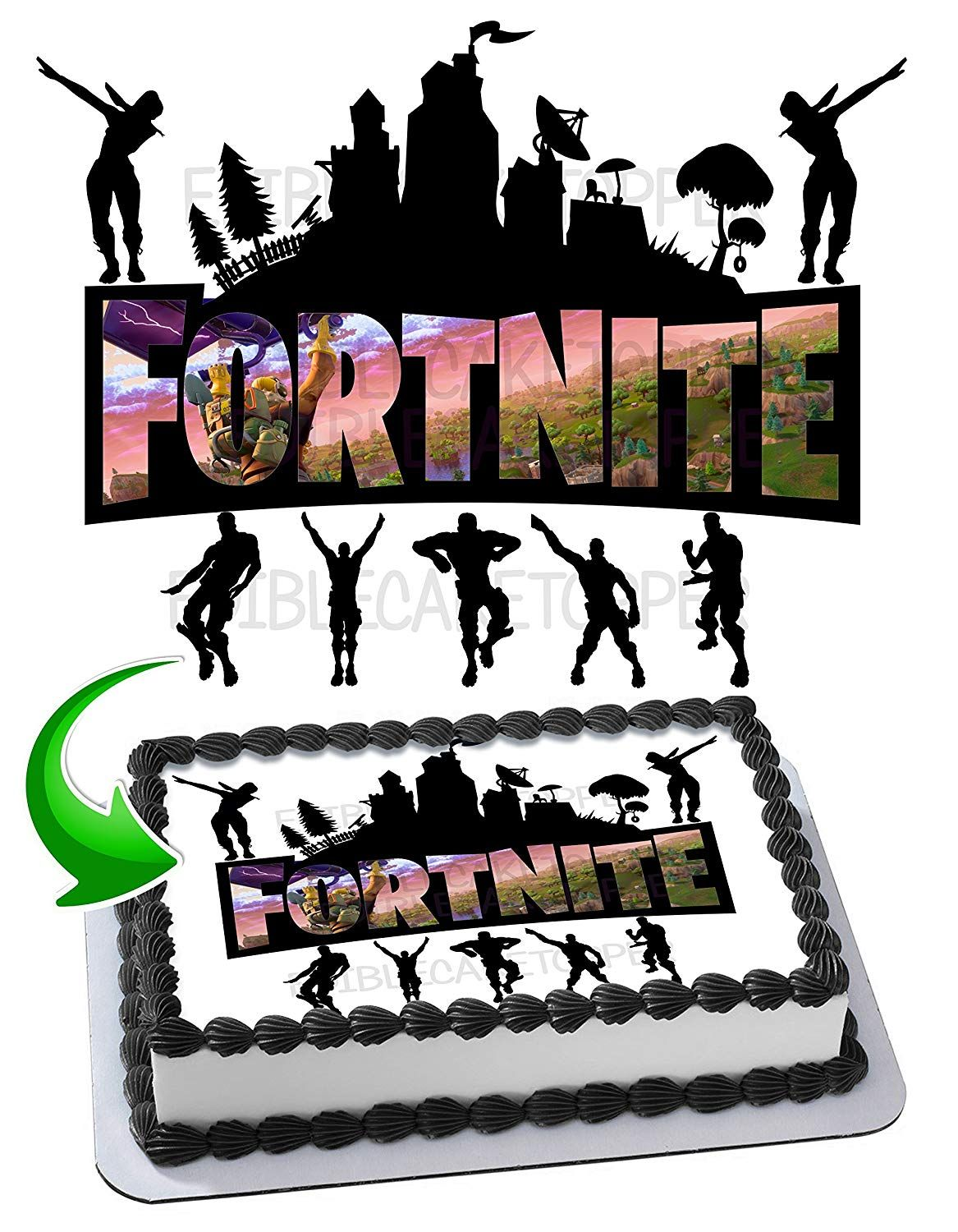 Edible Fortnite Cake Topper Simply Cover Any 1 4 Sheet Cake For A