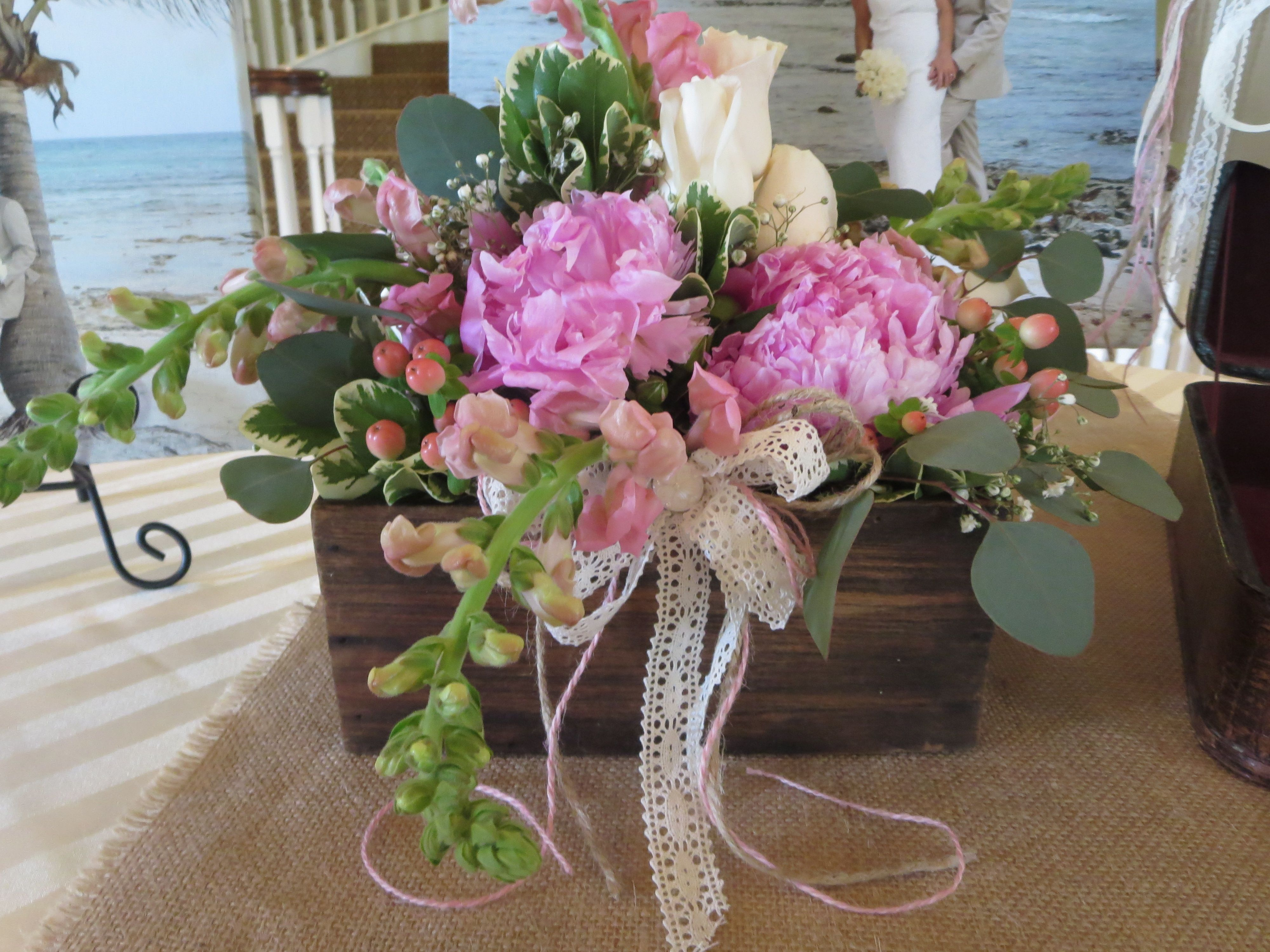Wood box and flowers shabby chic centerpiece