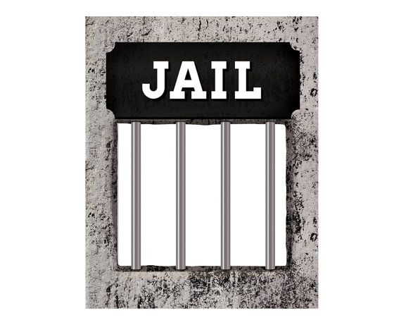 Photo booth props. Printable wanted poster with JAIL sign ...