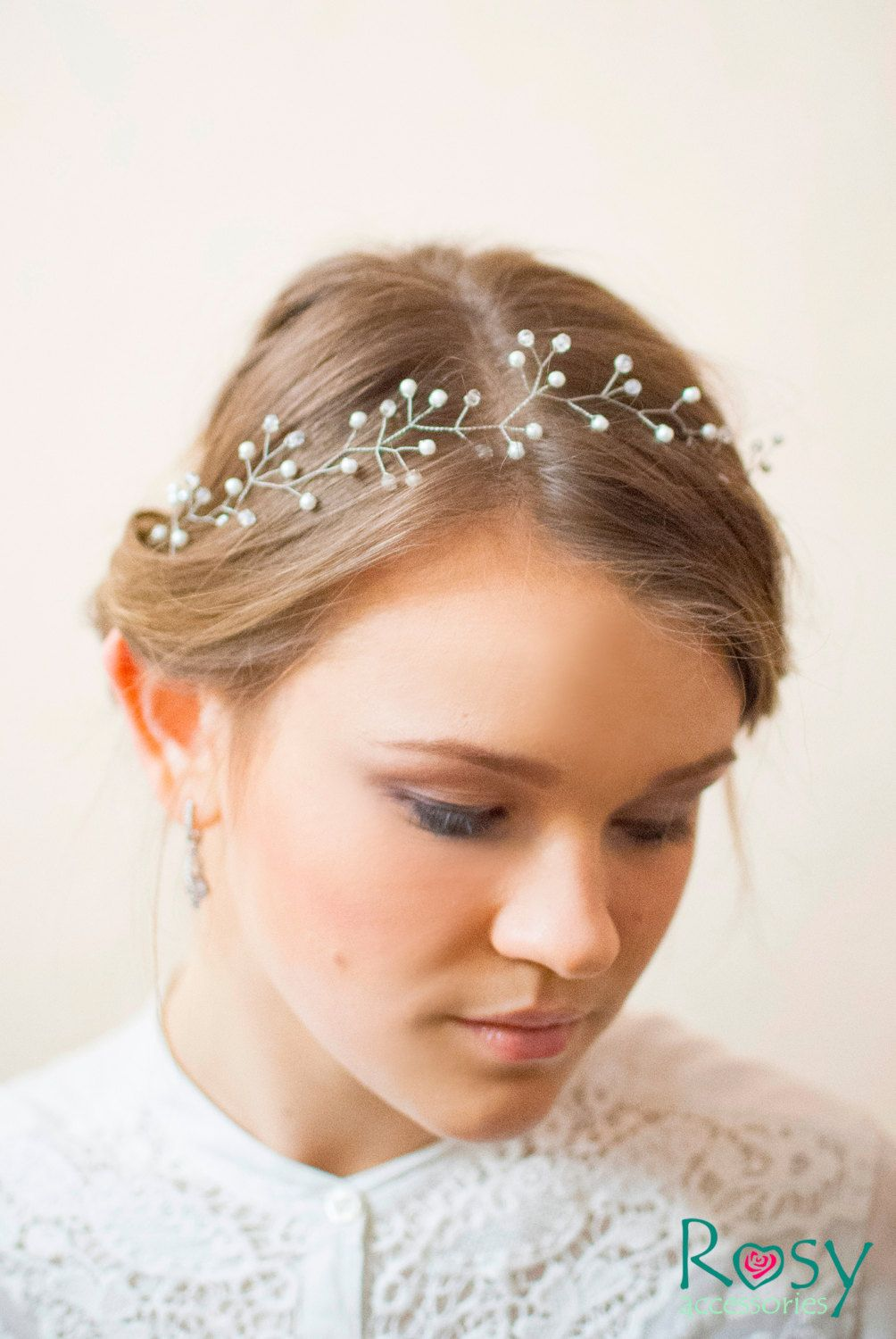 silver diadem with crystals and pearls white diadem wedding