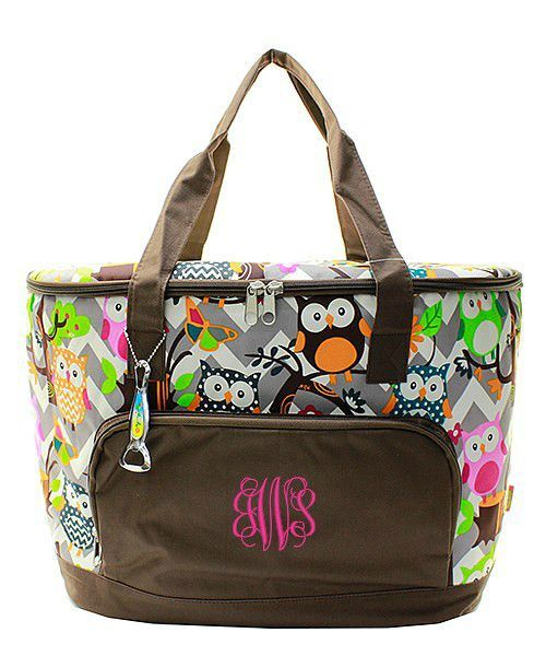 Personalized Owl & Gray Chevron Large Insulated Cooler Tote - Brown