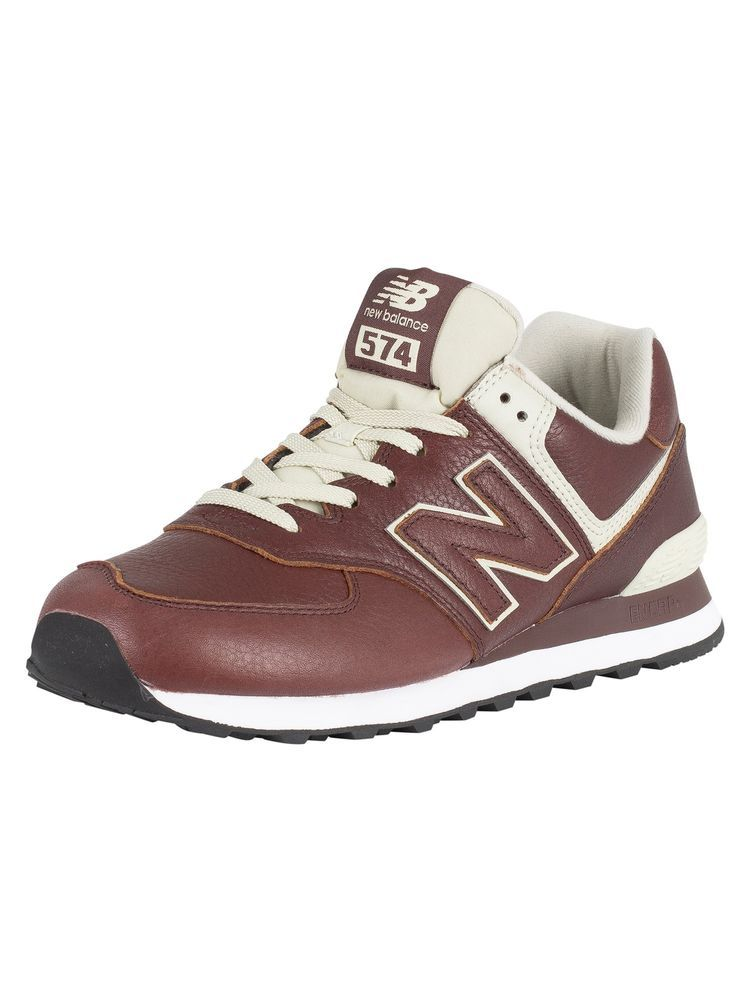 release date 0b806 e9b96 New Balance Men's 574 Leather Trainers, Brown | Men's Shoes ...