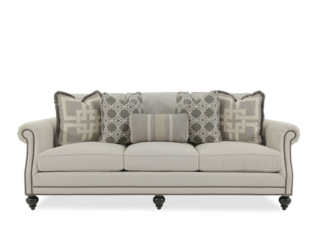 Bernhardt Brae Beige Sofa Mathis Brothers Furniture Rolled Arm