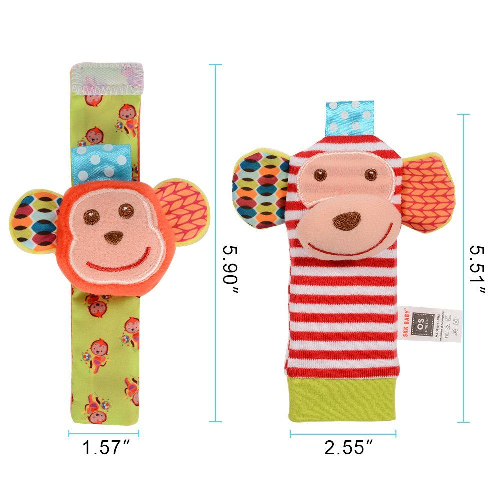 4 Pieces Animal Soft Baby Socks Set Wrist Rattles And Foot Finders Infant Toys Monkey And Elephant Blue Price 9 99 Soft Toy Animals Toy Monkey Pet Toys