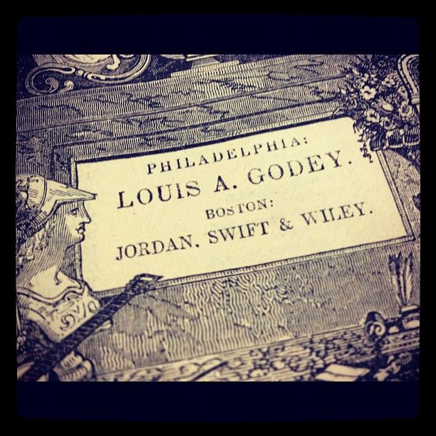 Imprint on the cover of Godey's Magazine  Tags: 19th century