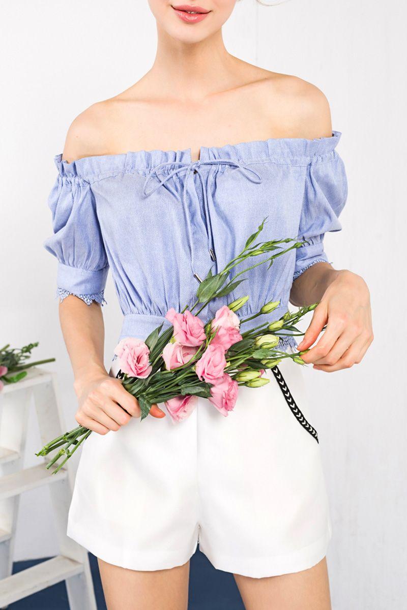 Off the shoulder cropped blouse shoulder clothes and light blue
