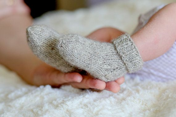 Made To Order Hand Knitted Baby Socks Sheep Wool Knitted Baby
