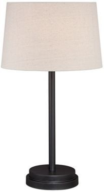Elroy Modern Bronze 27-Inch-H Table Lamp Off-white drum shade. Bronze finish. Metal construction. Uno style harp. 27-inches high. Shade is 13-inches across the top, 15-inches across the bottom, and 9 1/2-inches high. Takes one max 100W bulb (not included).
