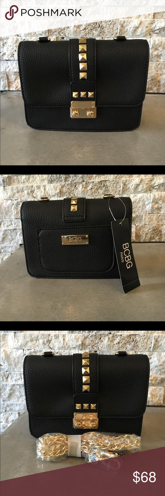 d51864f7f0 BCBG Studded Caviar Mini Crossbody handbag NWT BCBG Studded Caviar handbag  in black. Faux leather. Gold tone stud accents and press button lock  closure.