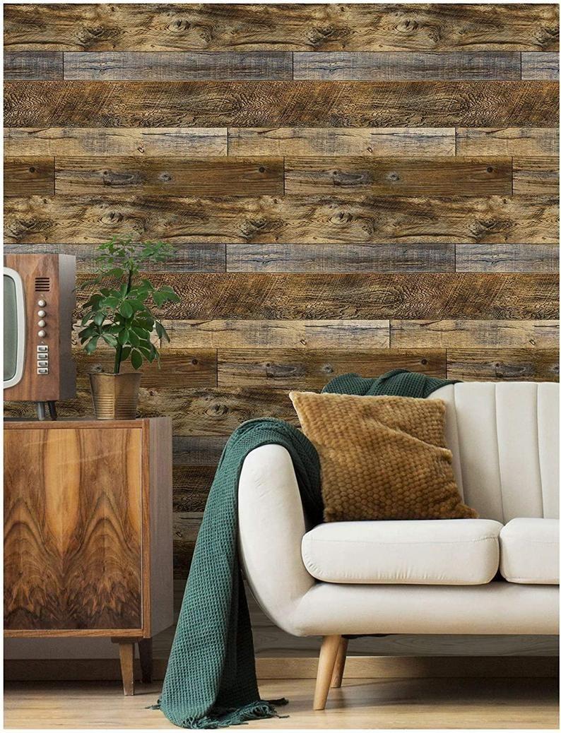 Wood Plank Wallpaper Shiplap Brown Vinyl Self Adhesive Contact Etsy Wood Plank Wallpaper Wood Planks Wood Panel Walls