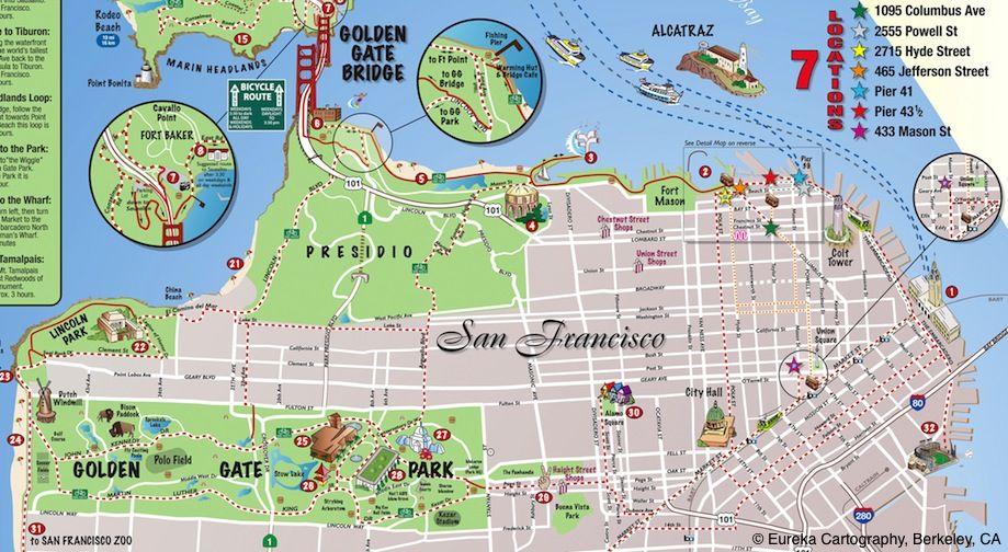 San Francisco Bike Rental Map C Eureka Cartography Berkeley Ca San Francisco Zoo Presidio San Francisco Relief Map