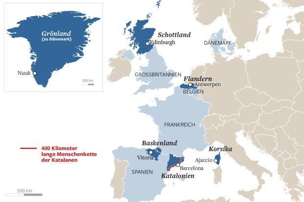 Europäer, die sich vom Mutterland abspalten wollen - Die Welt. Auf #Korsika, im #Baskenland, in #Belgien, #Schottland oder #Katalonien: Viele Europäer wollen einen eigenen Staat. Dabei geht es um Identität und Sprache, aber immer häufiger auch um Geld. Die Bestandsaufnahme in Europa zeigt, welche Regionen eine Abspaltung von ihrem Mutterland wollen. Dabei setzen die #Separatisten höchst unterschiedliche Methoden ein.