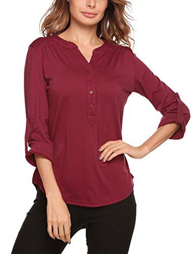 Women Loose 3//4 Sleeve Henley Shirts Casual V Neck Solid Ruffled Tunic Tops Blouse
