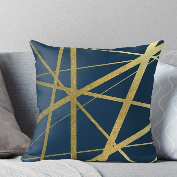 Best Navy And Gold Luxe Throw Pillow In 2020 Blue Copper 640 x 480