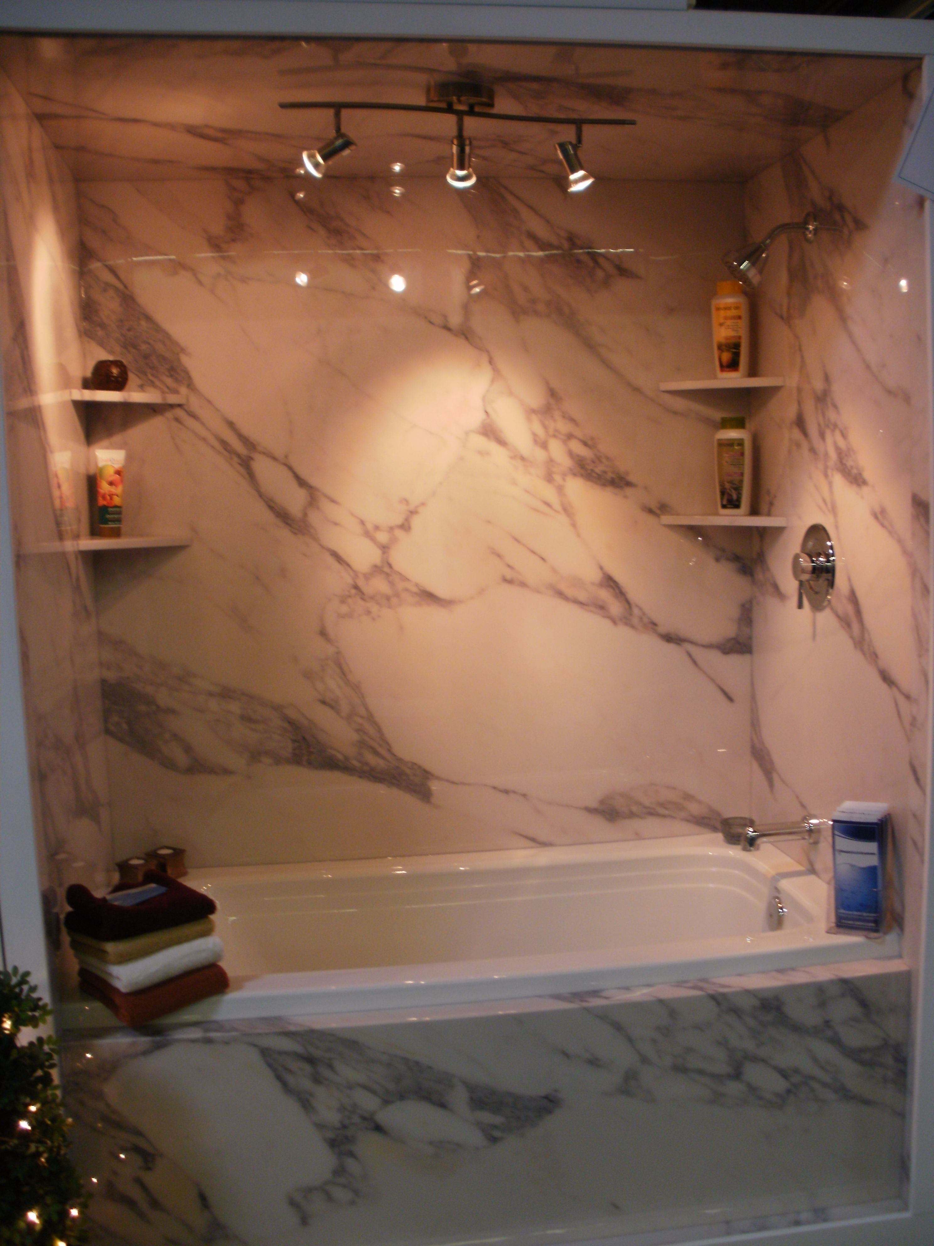 Calcutta Gold - Wall surround with shelves. | Sentrel - 1 Day Bath ...