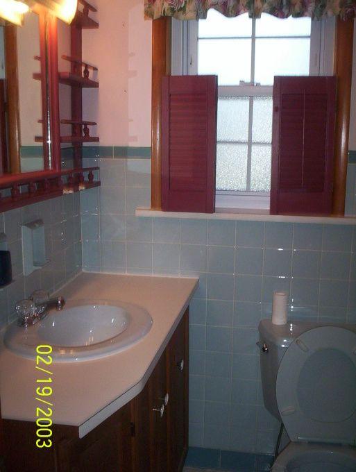 1950 Blue tile bathroom redo on a budget - Bathroom Decorating Ideas