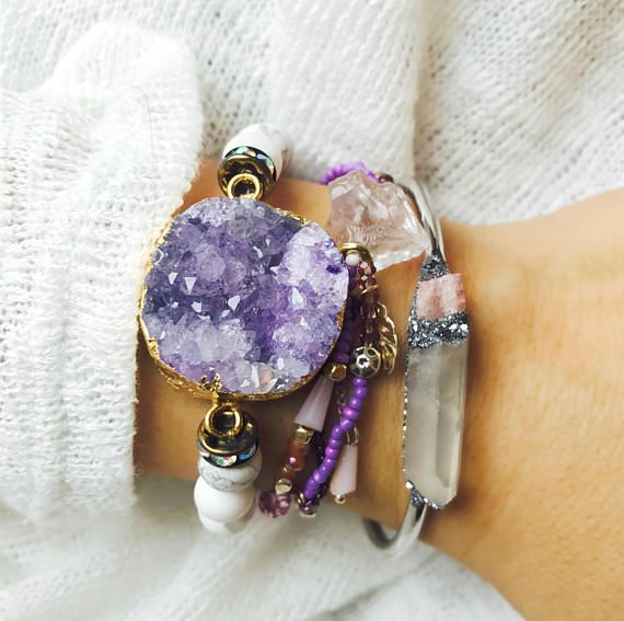 bohemian bracelet womens quartz bracelet 14k gold filled bracelet mineral jewelry aquamarine bracelet Druzy bracelet amethyst bracelet