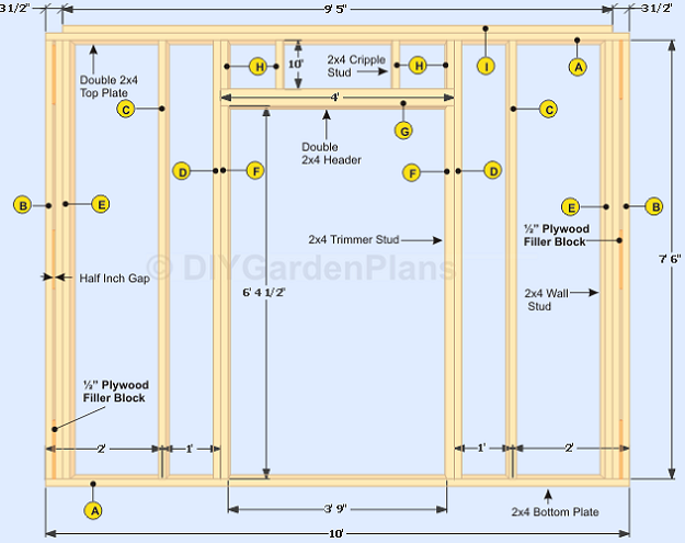 How To Frame The Shed Front Wall And Door Framing Construction Building A Door Stud Walls