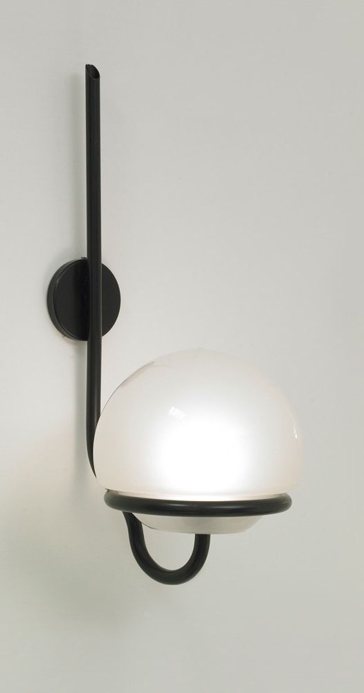 Sergio Asti; #145 Enameled Metal and Glass Wall Light for Arteluce, 1964.