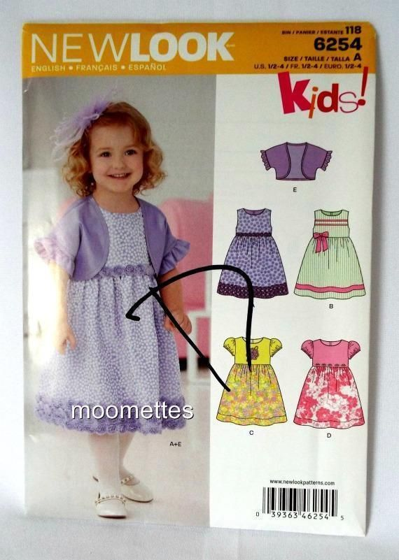 New Look 6254 Toddler Jacket Party Dress Sewing Pattern Girls 1 2 3