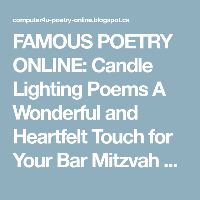 Famous poetry online candle lighting poems a wonderful and famous poetry online candle lighting poems a wonderful and heartfelt touch for your bar mitzvah aloadofball Images