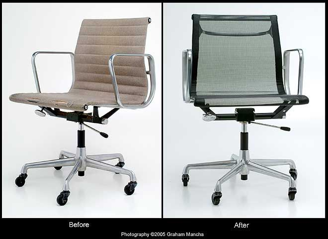 Eames aluminium and soft pad group renovation repairs to for Mobilier international eames