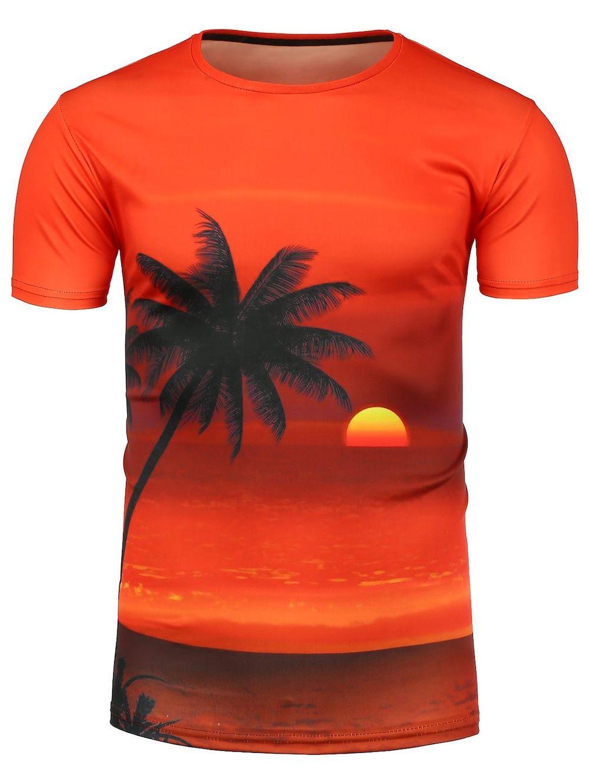 Beach Sunset Print Hawaiian T-Shirt