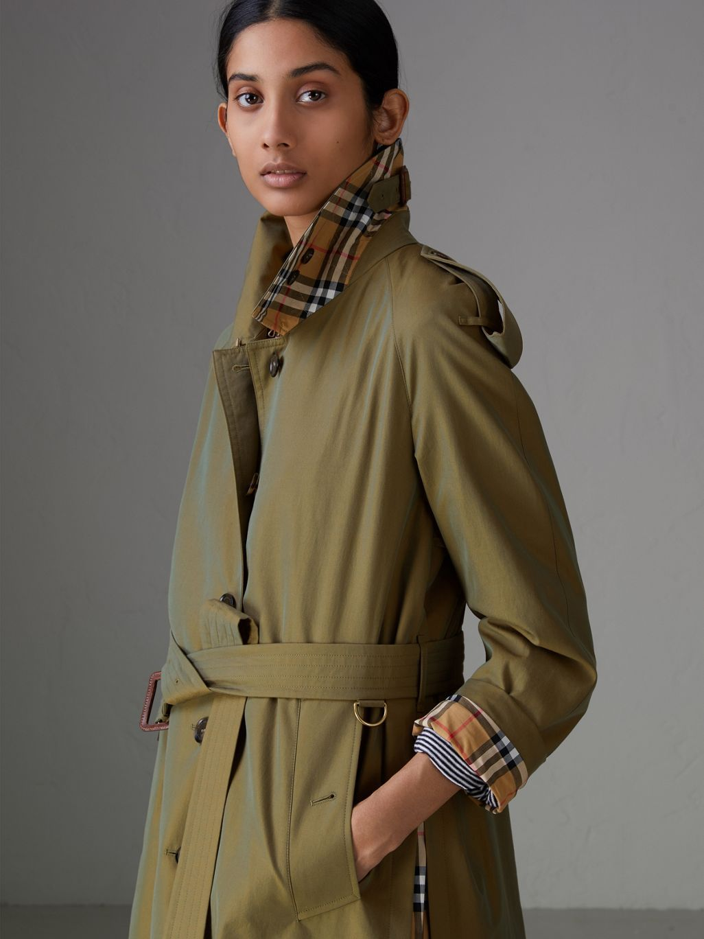 Side-slit Tropical Gabardine Trench Coat in Bright Olive - Women  b056c405a909
