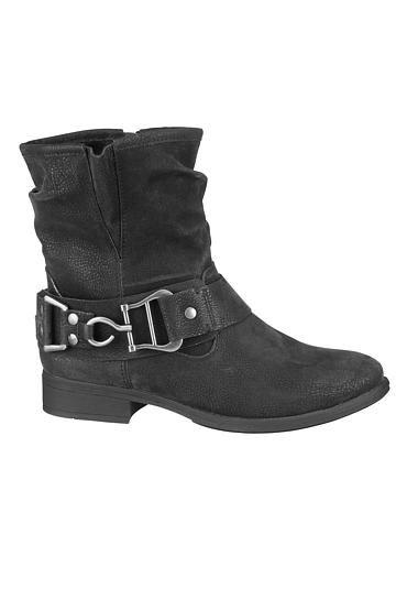 <ul><b>Overview</b><li>adorable slouchy style</li><li>metallic buckle detail zips up the side</li><li>textured faux leather fabric</li><li>very versatile</li></ul><ul><b>Sizing</b><li>1 inch heel</li></ul><ul><b>Fabric and Care</b><li>Style Number: 24668</li><li>Imported</li><li>Man made materials</li><li>Wipe clean</li></ul>