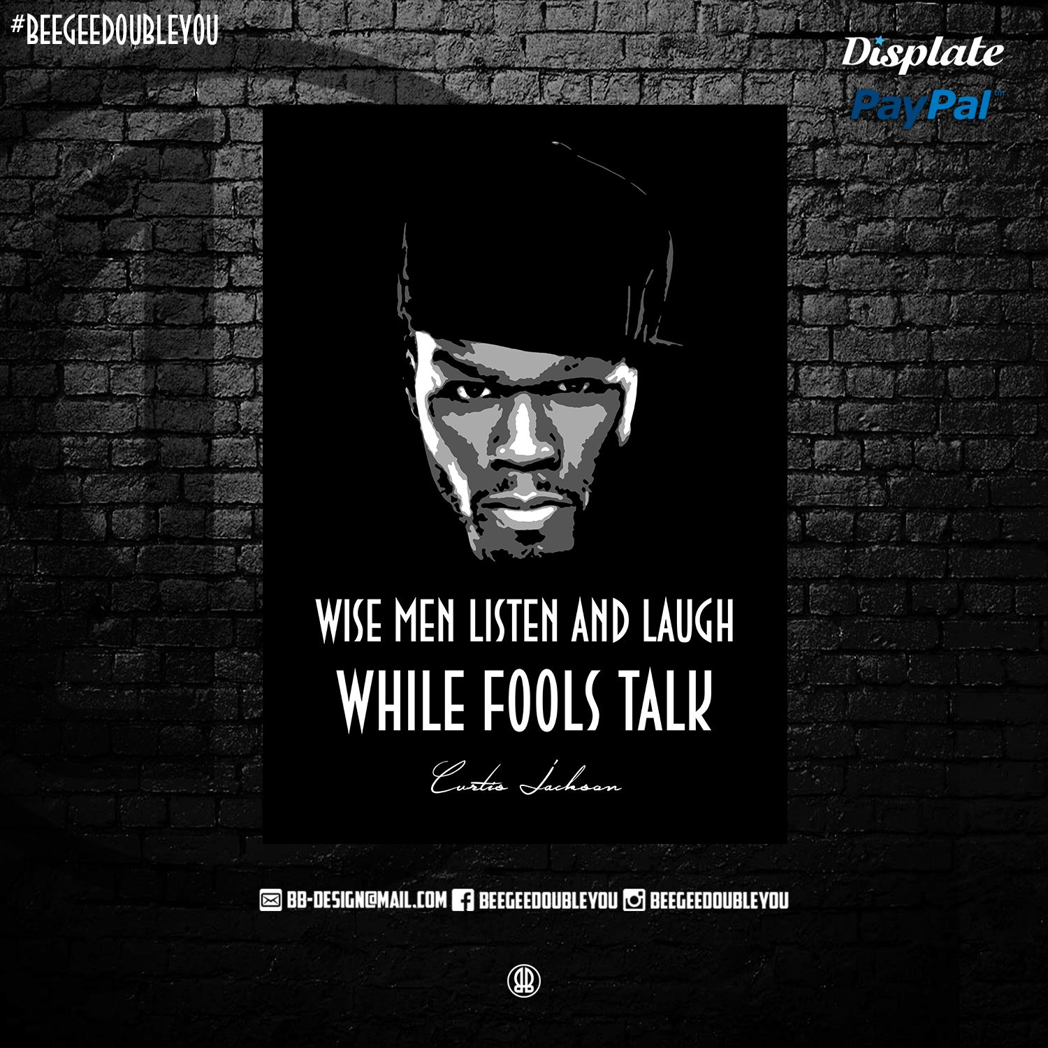 Quotes 50 Cent 50 Cent On Poster Displate Black Popart Bustarhymes Studio