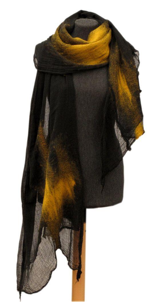 f72cca1f2 Saffron merino wool scarf, Ocher scarf, Mustard scarf, Felt scarf, Merino  wool scarf, Unique nuno felt scarf, women scarf, oversized scarf,