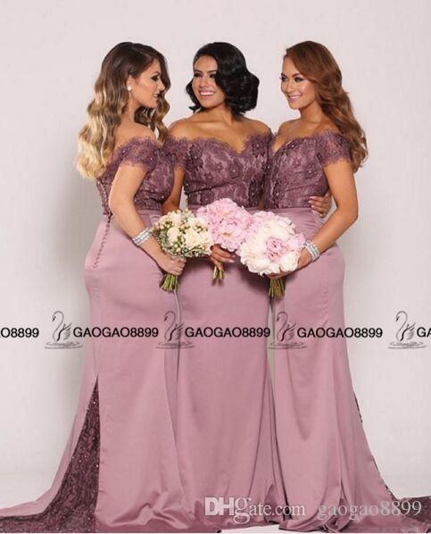 5c7736f4c6ca Nude Lavender Lace Stain Off Shoulder Long Mermaid Beach Bridesmaid ...