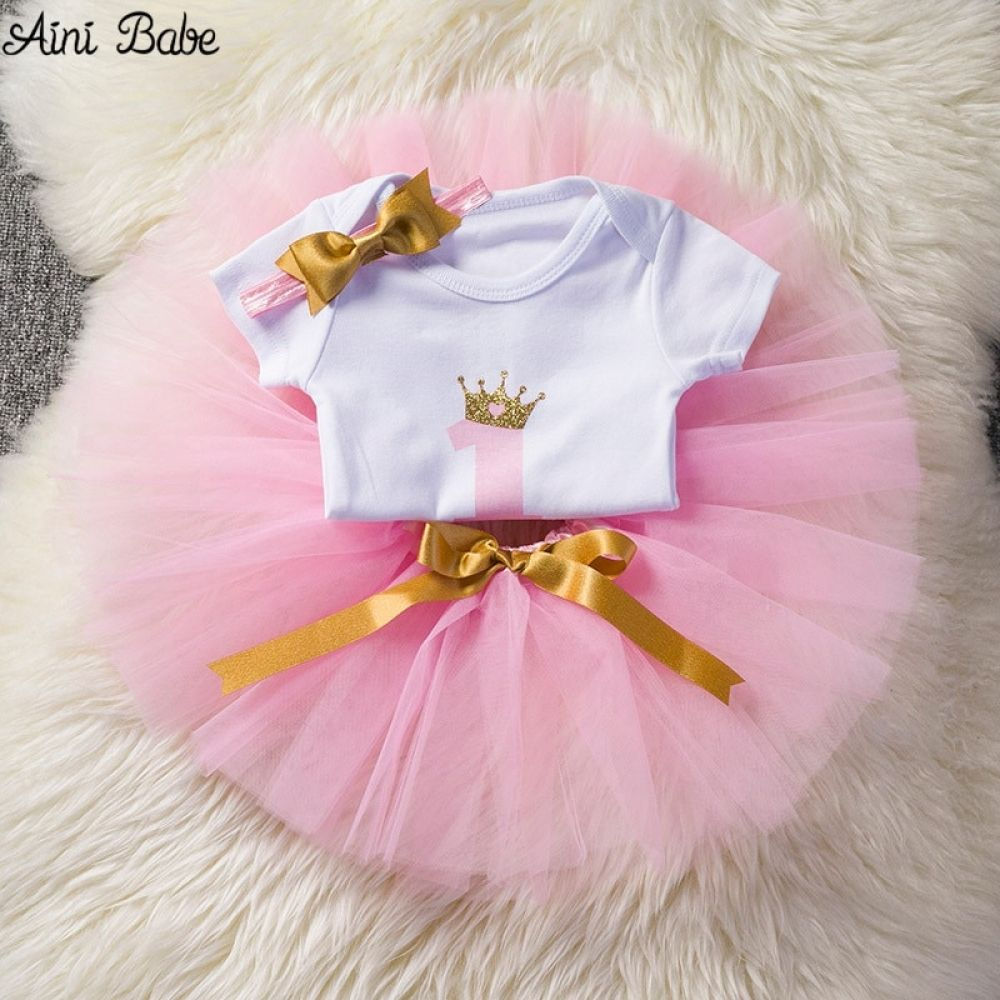 1 1st First Birthday Girl Tutu Dress Fairy OutFit PINK