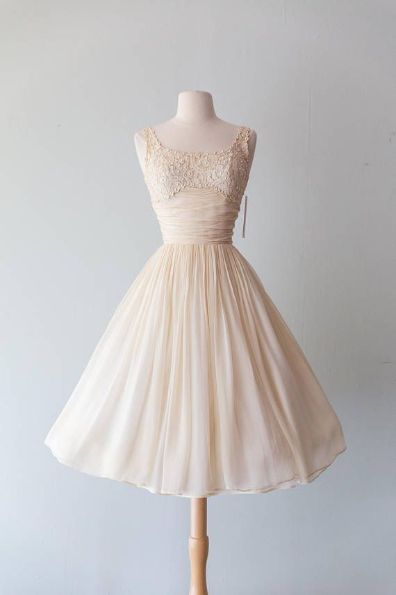 d2d1c8550f5 Vintage 1950s Dress - 50s Silk Chiffon Ivory And Lace Party Dress ...