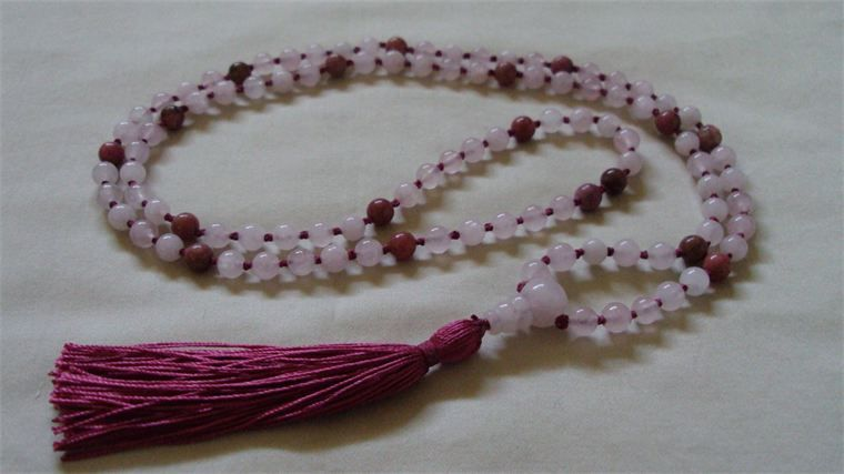 6mm Rose Quartz and Rhodonite Hand Knotted on Maroon Silk from Mother Earth Malas - Malas on Silk