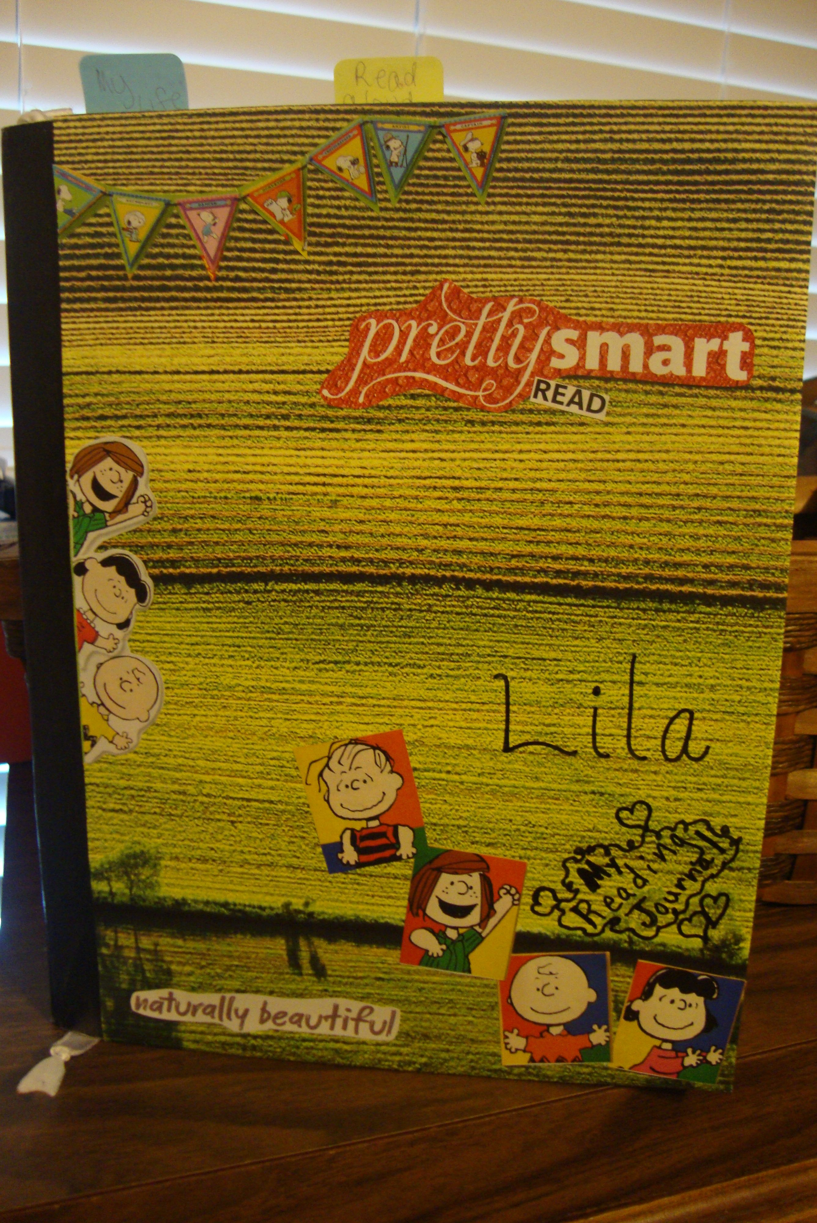 Classroom materials: notebook/journal--Reading cover Peanuts Gang style. Love it! Part 1