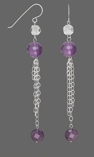 Earrings with Amethyst Gemstone Beads, Quartz Crystal Beads and Sterling Silver Chain