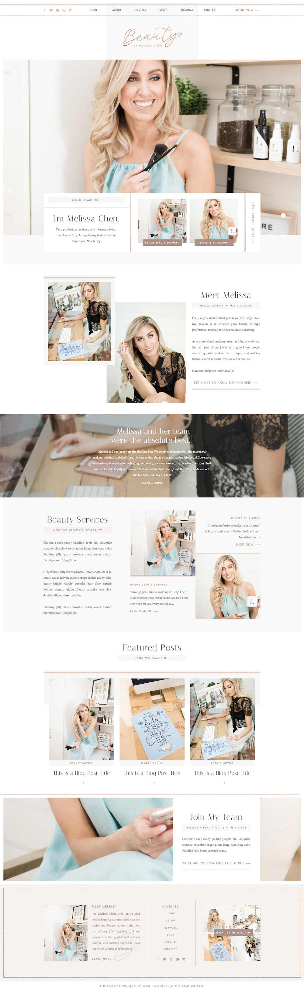 Custom Web Design For Beauty By Melissa Chen With Grace And Gold Web Website Websites Design Web Design Tips Web Layout Design Beautiful Website Design