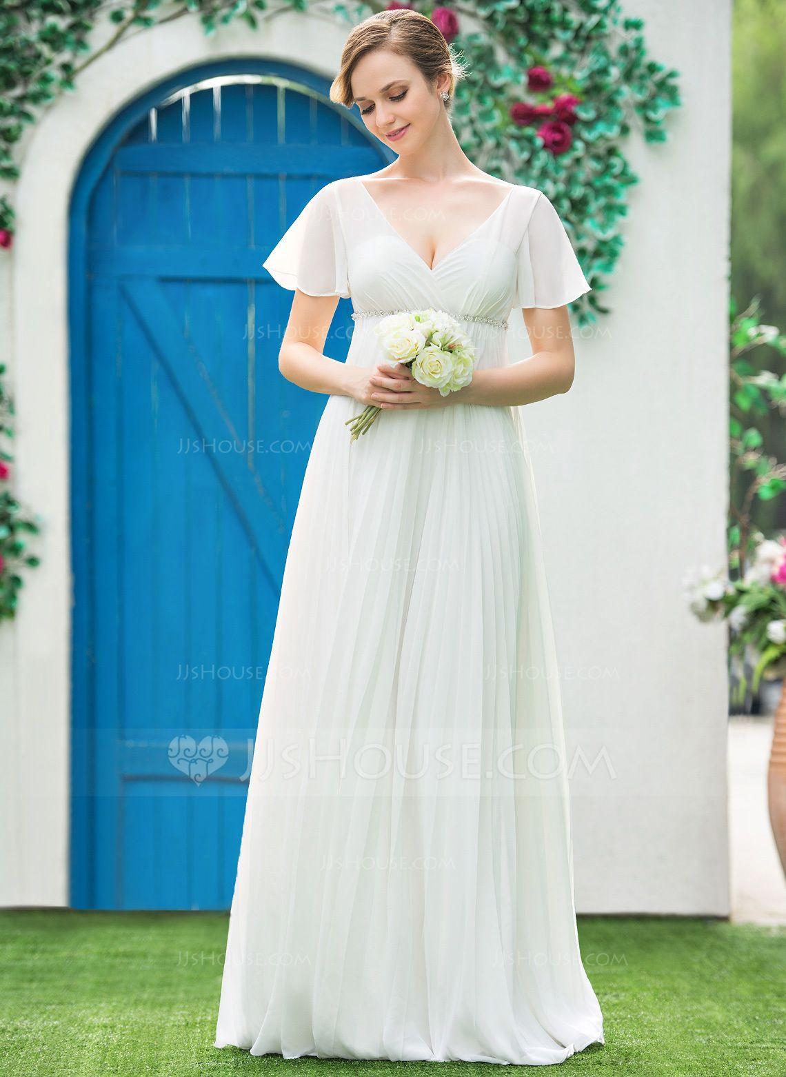 Us 154 00 Empire V Neck Floor Length Chiffon Wedding Dress With Beading Pleated Jj S House Empire Wedding Dress Wedding Dresses Chiffon Wedding Dress [ 1562 x 1140 Pixel ]