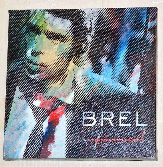 Unique acrylic painting of Designer Jacques Brel on canvas
