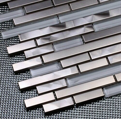 Sample Metal Stainless Steel Linear Glass Mosaic Tile: Crystal White Glass Mosaic Kitchen Wall Tile Backsplash
