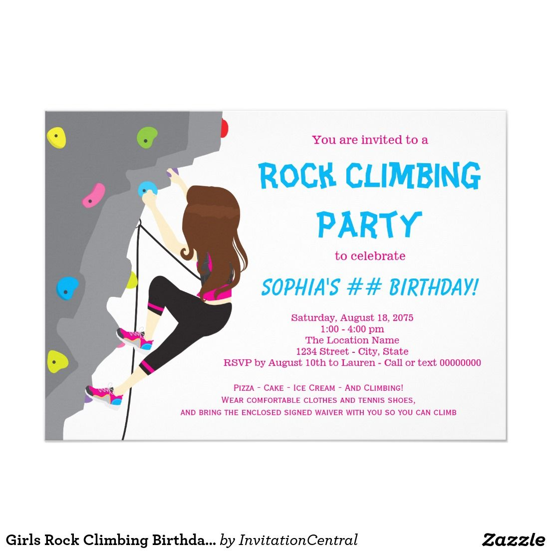 Girls Rock Climbing Birthday Party Invitations | Rock climbing ...