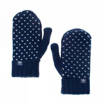 Adidas W Hw Knit Blue White Gloves Womens New